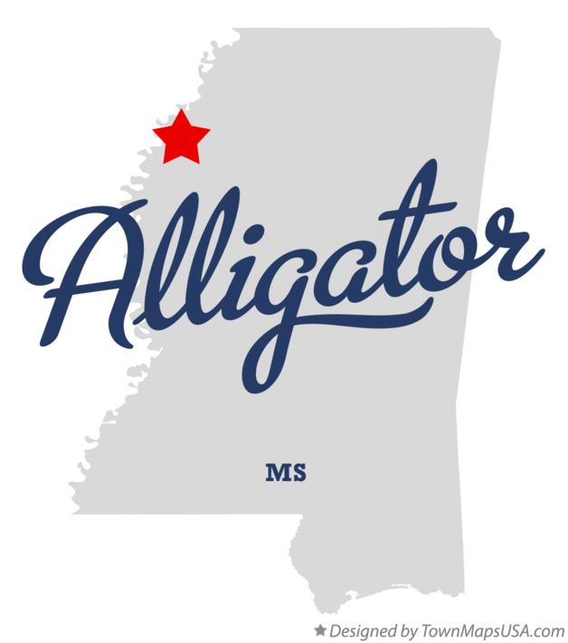 Map of Alligator Mississippi MS