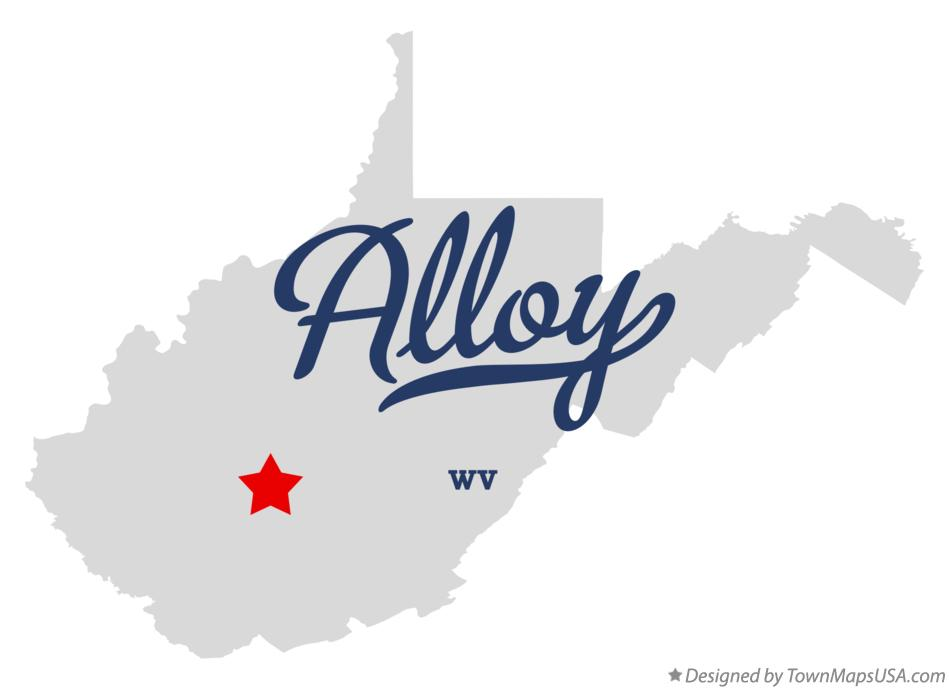 Map of Alloy West Virginia WV