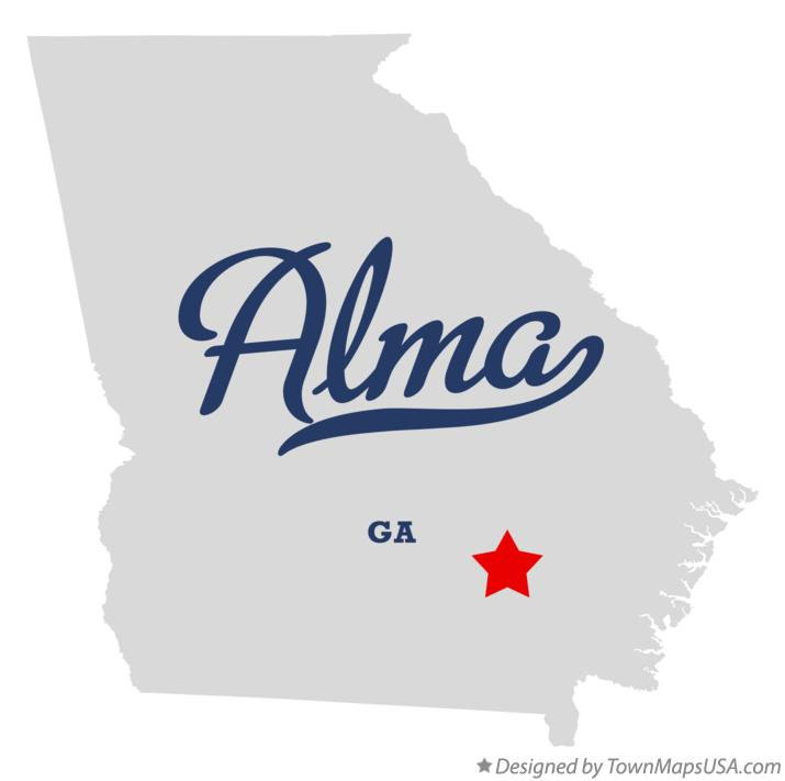 Map of Alma Georgia GA