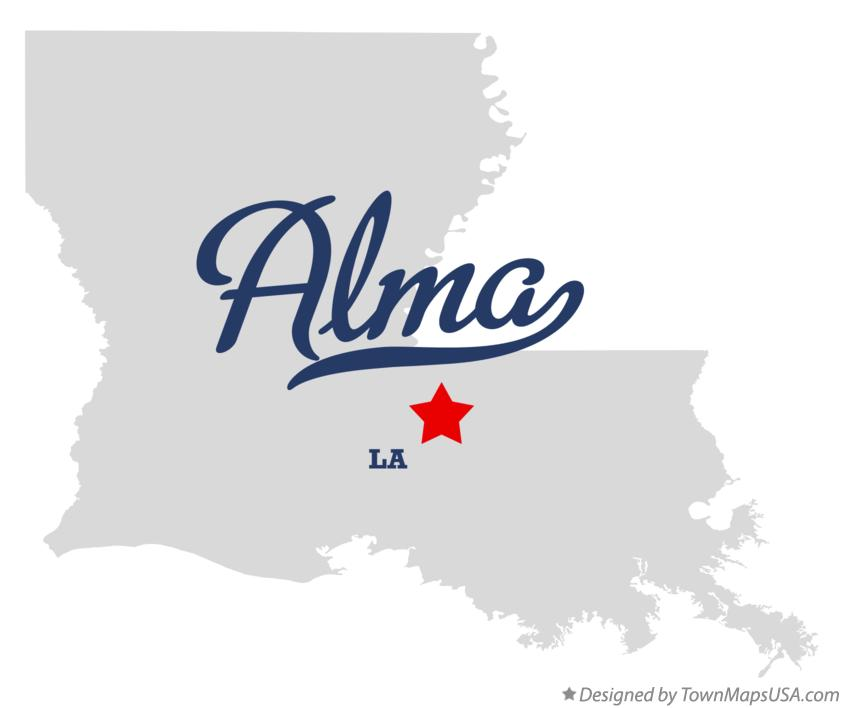 Map of Alma Louisiana LA