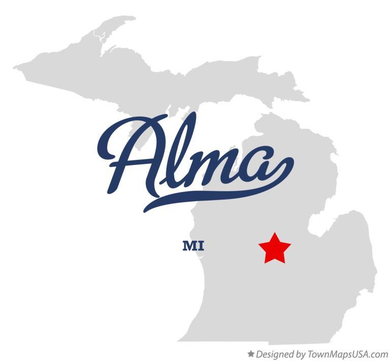 Map of Alma, MI, Michigan