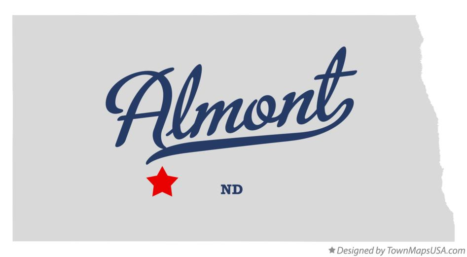 Map of Almont North Dakota ND