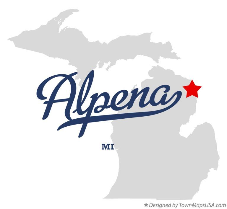 Map of Alpena, MI, Michigan