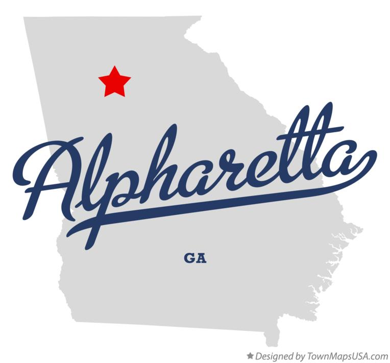 Alpharetta Georgia GA Map professionally designed by GreatCitees.com.