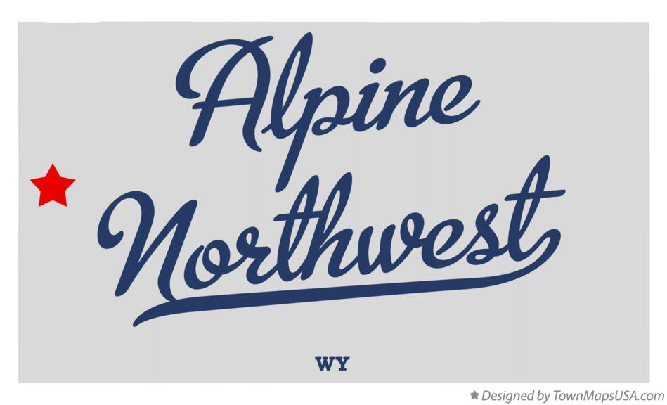 Map of Alpine Northwest Wyoming WY