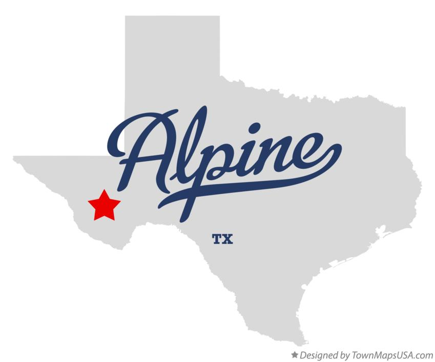 Map of Alpine Texas TX