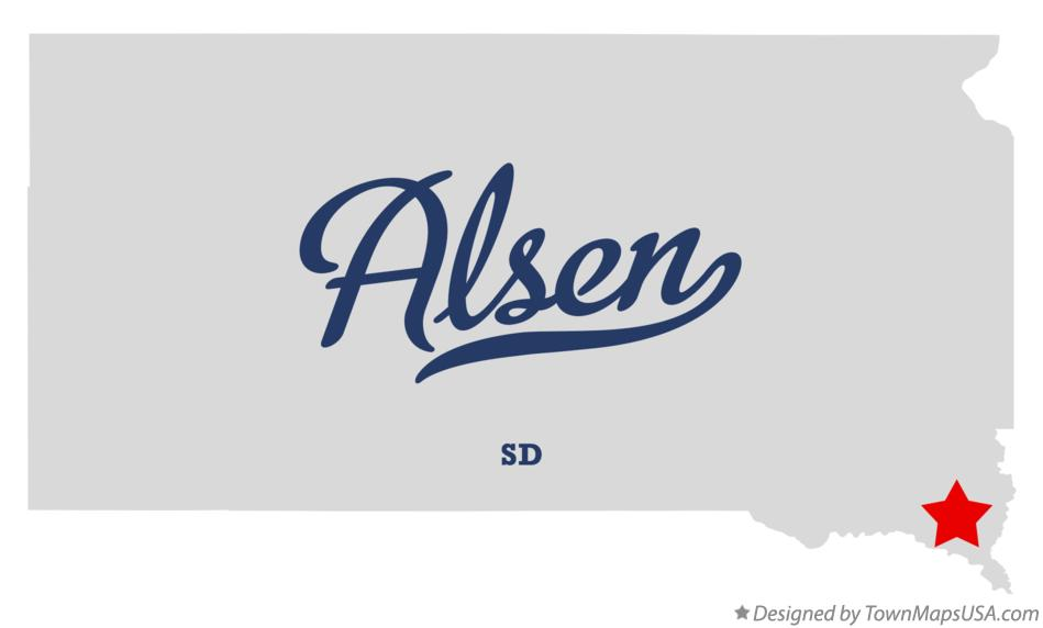 Map of Alsen South Dakota SD