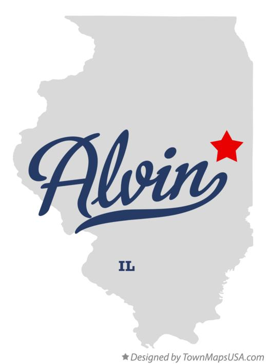 Map of Alvin Illinois IL