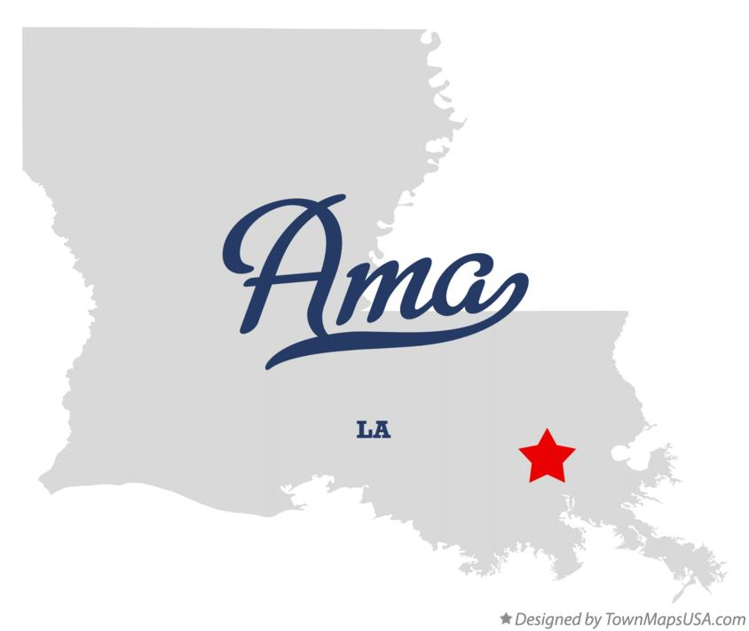 Map of Ama Louisiana LA