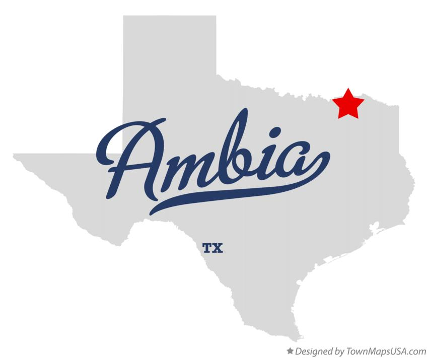 Map of Ambia Texas TX