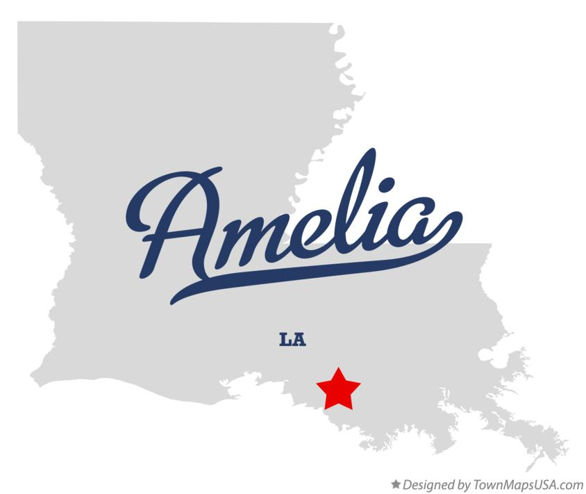 Map of Amelia Louisiana LA