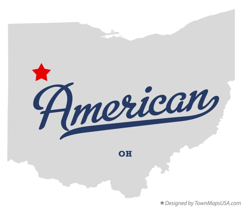 Map of American Ohio OH