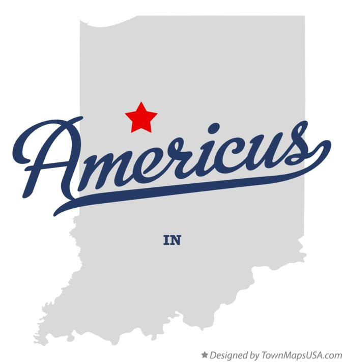 Map of Americus Indiana IN