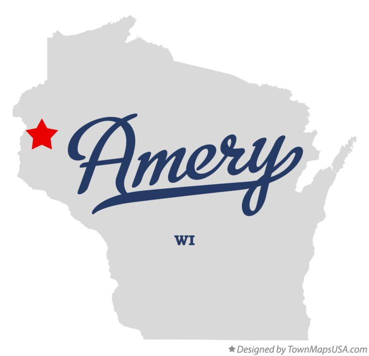 Map of Amery, WI, Wisconsin