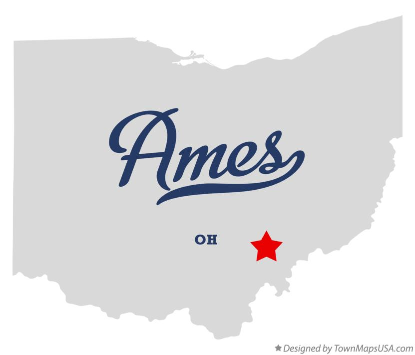 Map of Ames Ohio OH