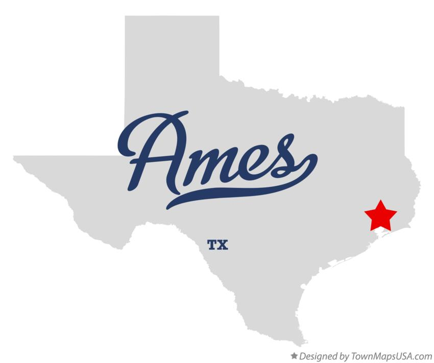 Map of Ames Texas TX