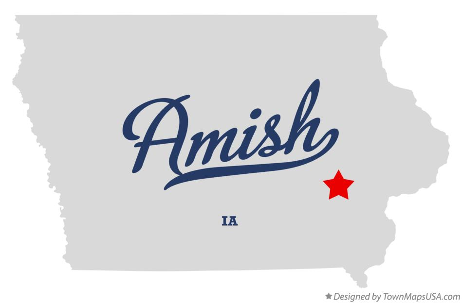 Map of Amish Iowa IA