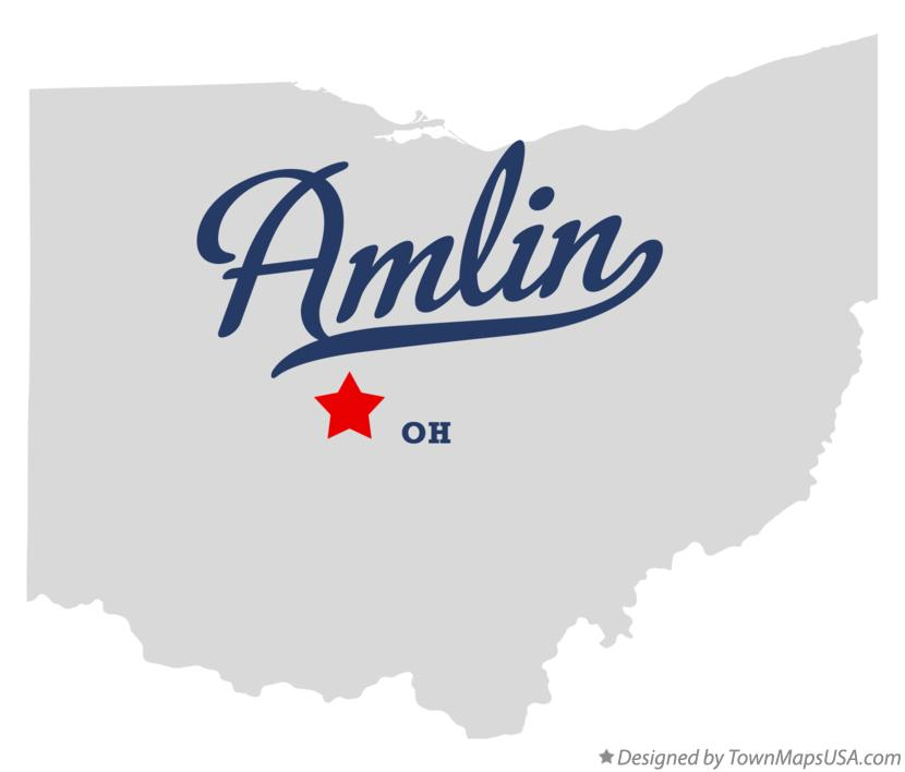 Map of Amlin Ohio OH