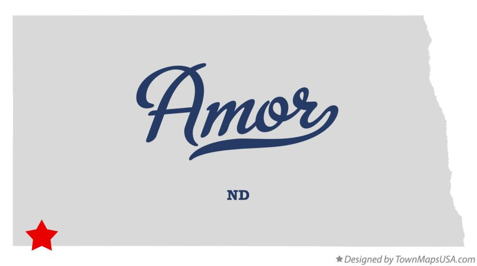 Map of Amor North Dakota ND