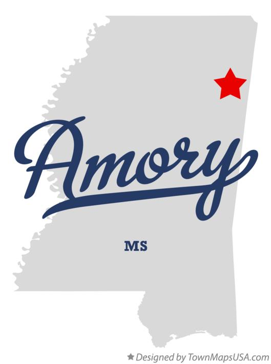 Map of Amory Mississippi MS