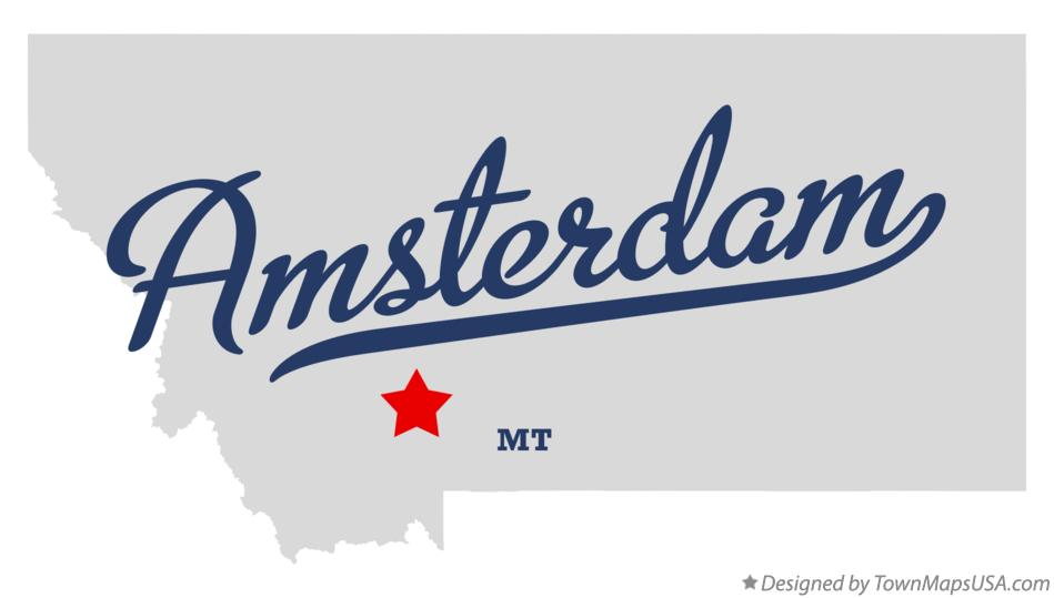 Map of Amsterdam Montana MT