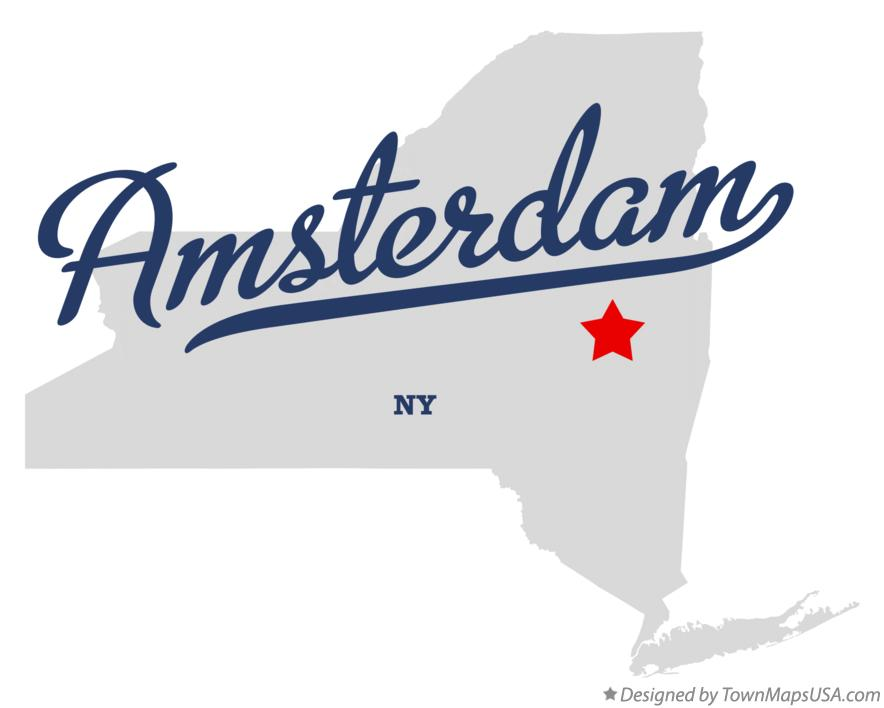 Map of Amsterdam New York NY