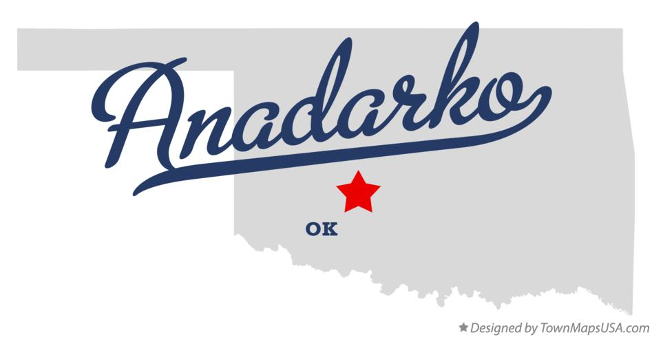Map of Anadarko Oklahoma OK