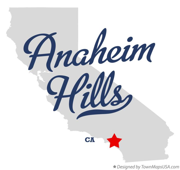 Map of Anaheim Hills California CA