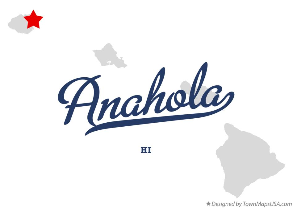 Map of Anahola Hawaii HI