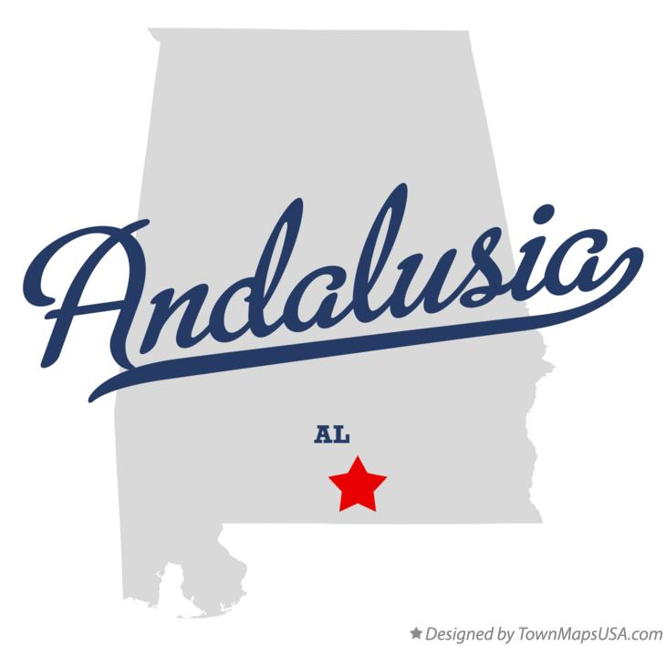 Map of Andalusia Alabama AL