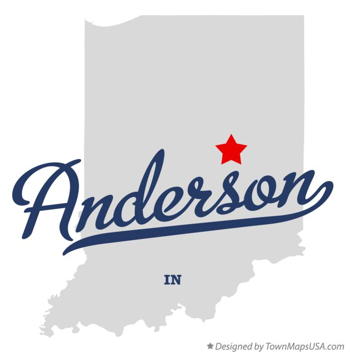 Map of Anderson Indiana IN