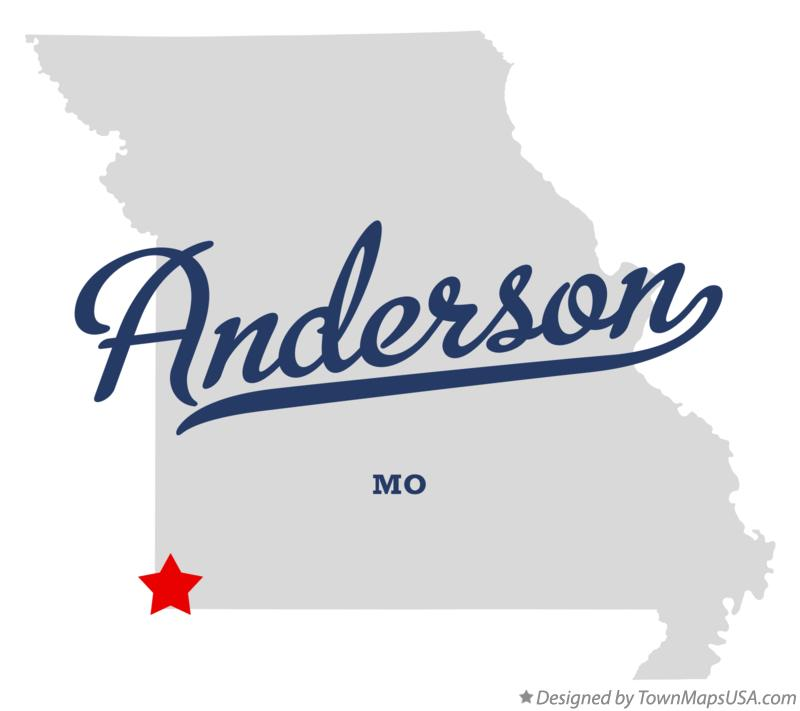 Map of Anderson Missouri MO