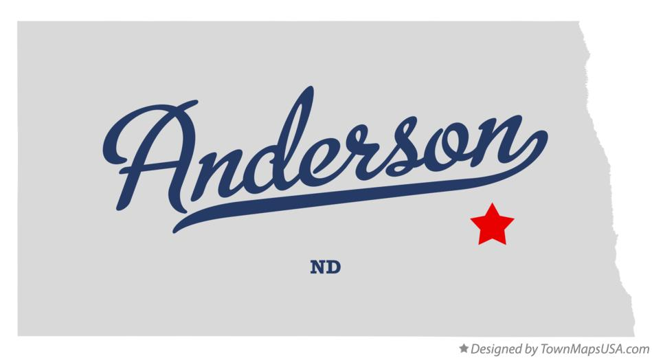 Map of Anderson North Dakota ND