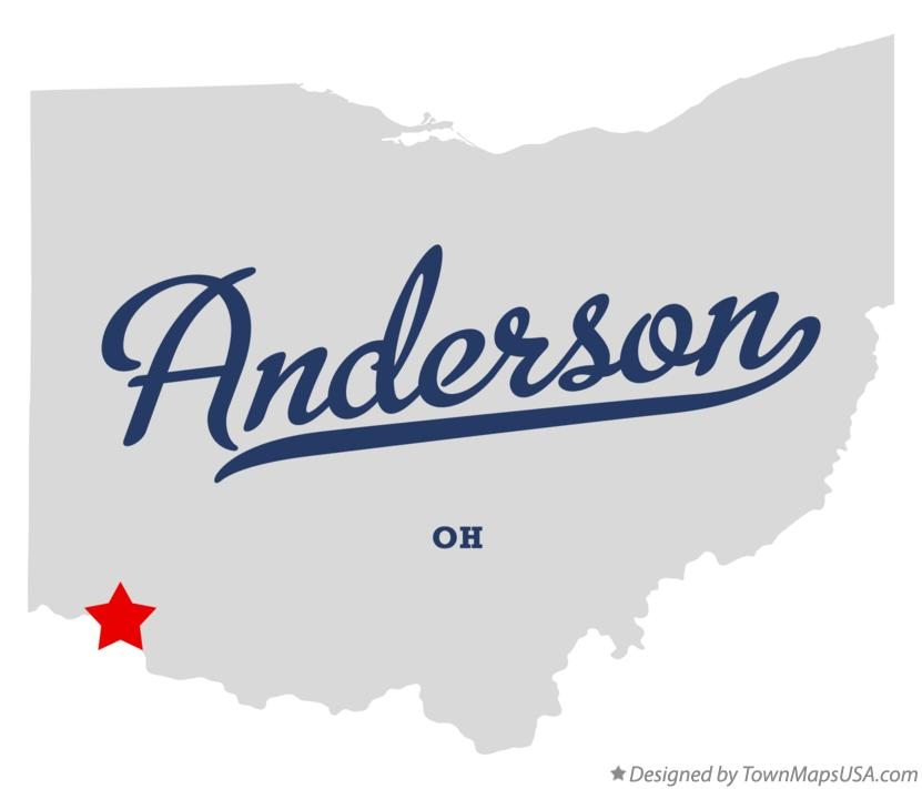 Map of Anderson Ohio OH