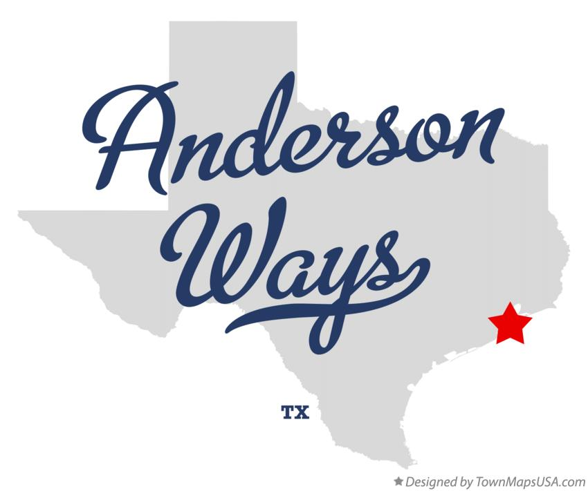 Map of Anderson Ways Texas TX