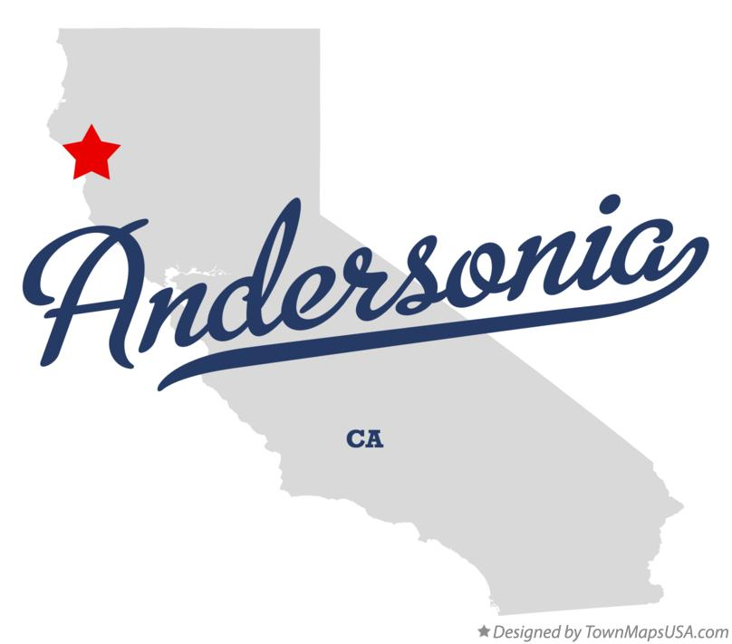 Map of Andersonia California CA