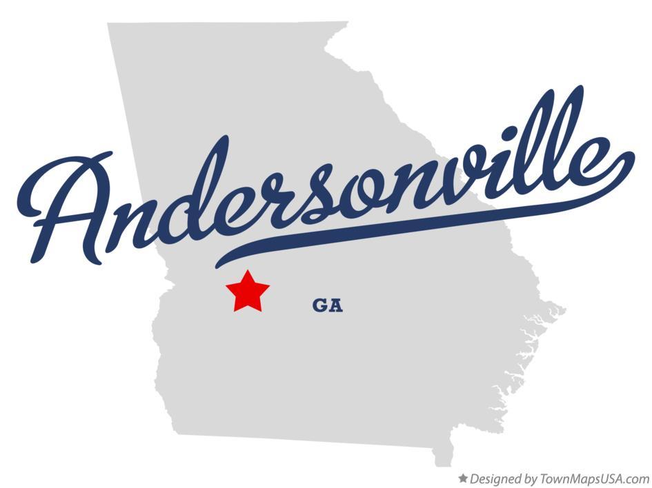Map of Andersonville, Sumter County, GA, Georgia