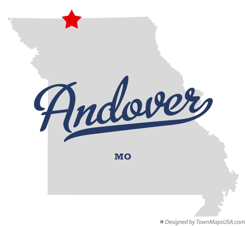 Map of Andover Missouri MO