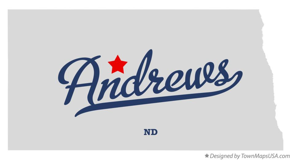 Map of Andrews North Dakota ND