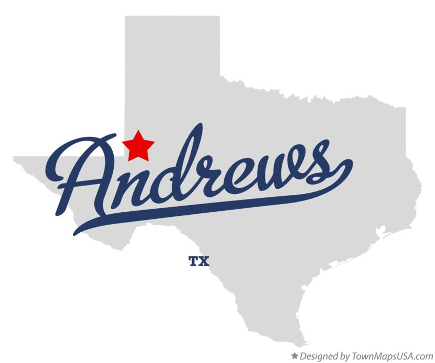 Map of Andrews Texas TX