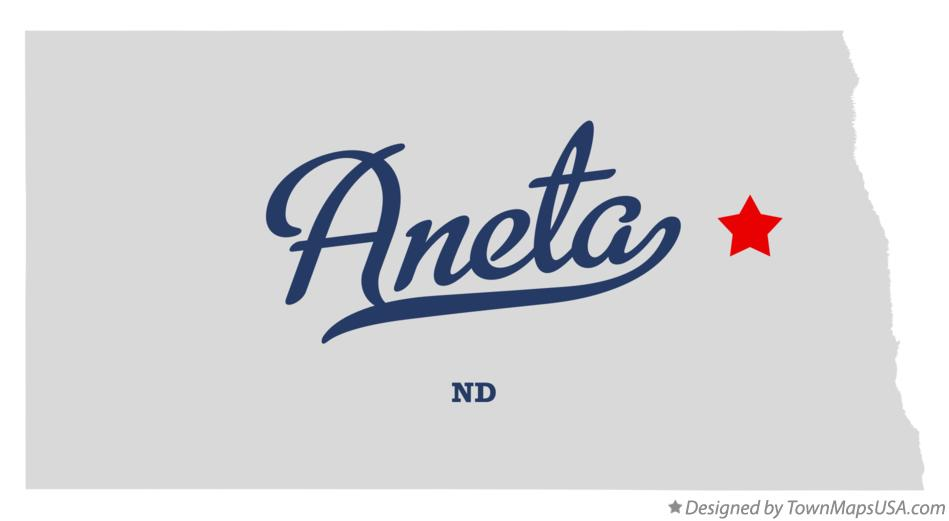 Map of Aneta North Dakota ND