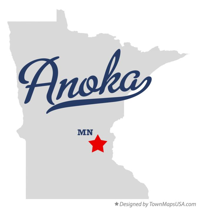 Map of Anoka Minnesota MN