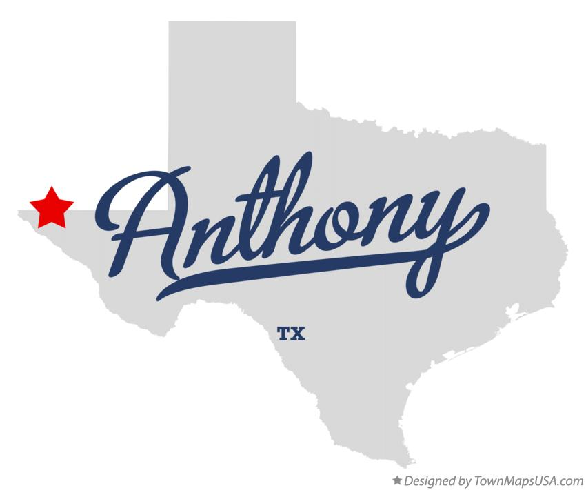 Map of Anthony Texas TX
