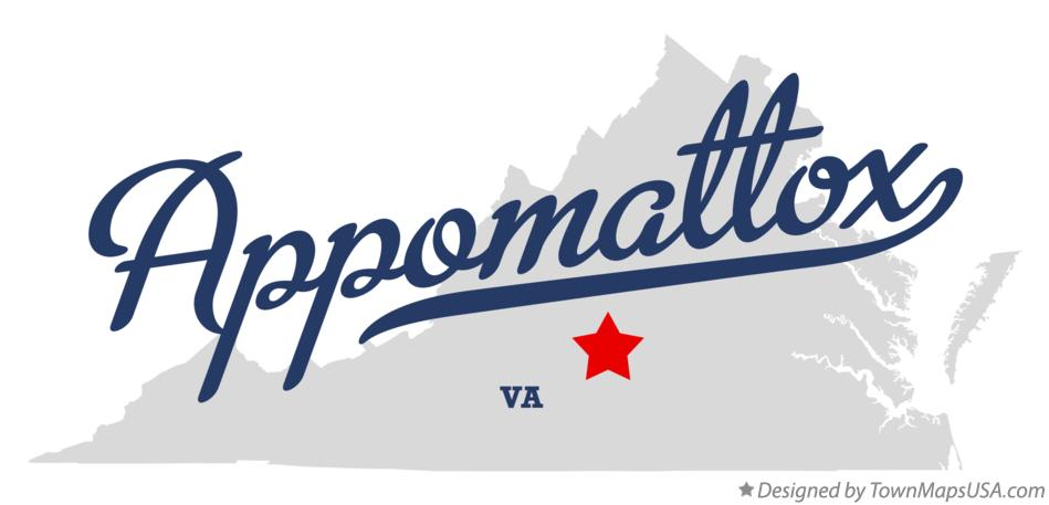 Map of Appomattox Virginia VA