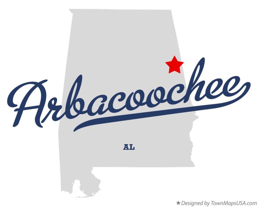 Map of Arbacoochee Alabama AL