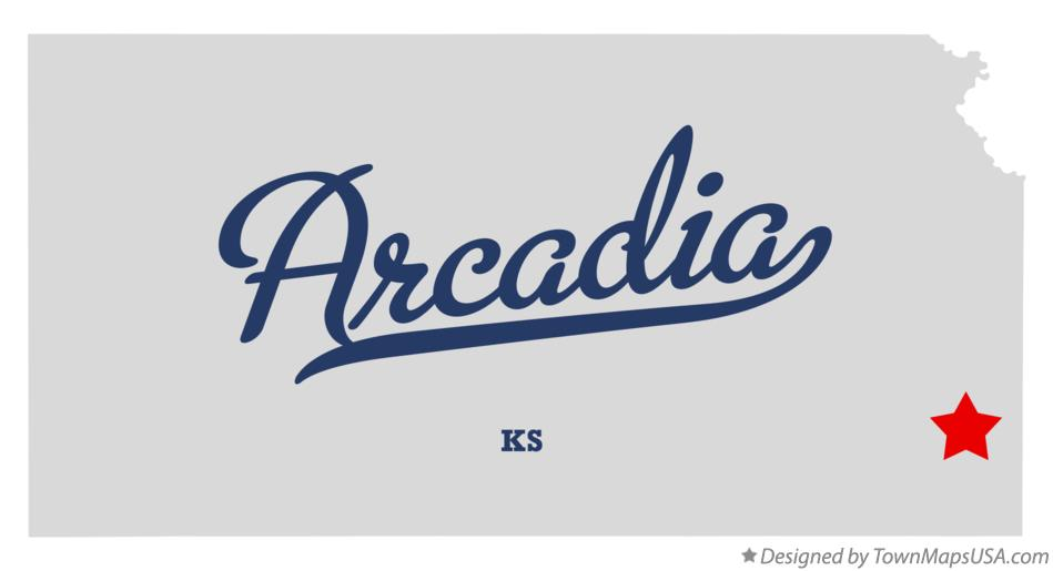 Map of Arcadia Kansas KS