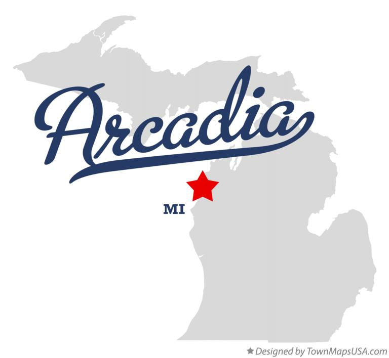 Map of Arcadia Michigan MI