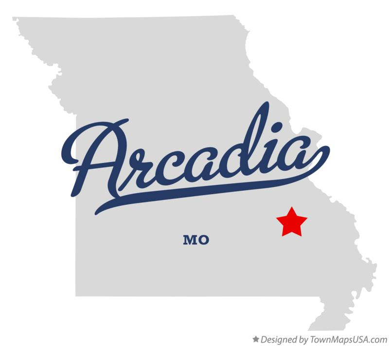 Map of Arcadia Missouri MO