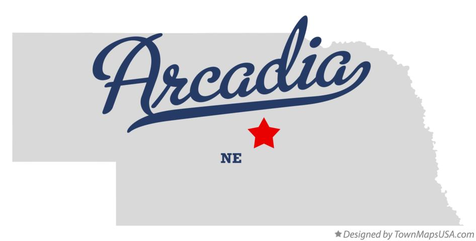 Map of Arcadia Nebraska NE