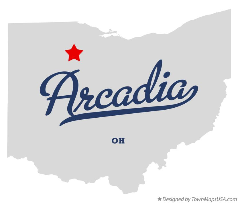 Map of Arcadia Ohio OH